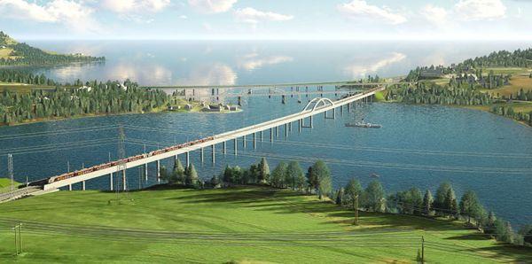 Illustration der längsten Eisenbahnbrücke Norwegens