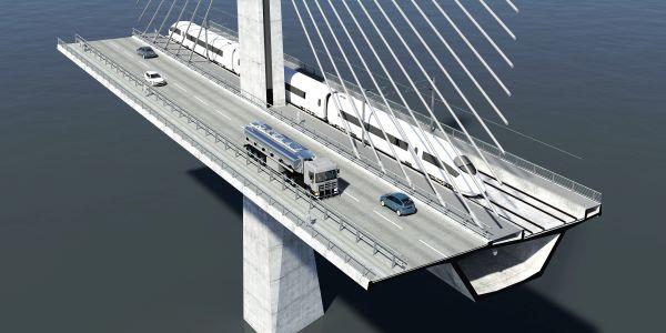 Visualisierung der neuen Storstrømbrücke im Schnitt