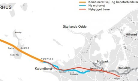 Karte mit eingezeichnetem Streckenverlauf der Kattegat-Querung