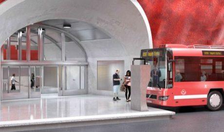 Visualisierung des zukünftigen Busbahnhofs