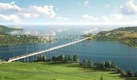 Illustration der Minnevika Eisenbahnbrücke
