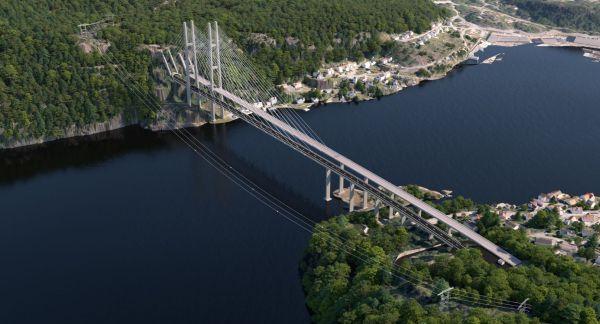 Illustration der neuen Grenlandsbrücke in der Region Telemark zwischen Oslo und Kristiansand