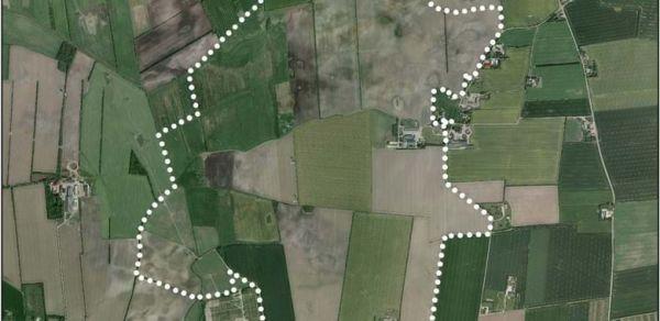 Luftbild des Grundstücks, auf dem Apple bauen wollte