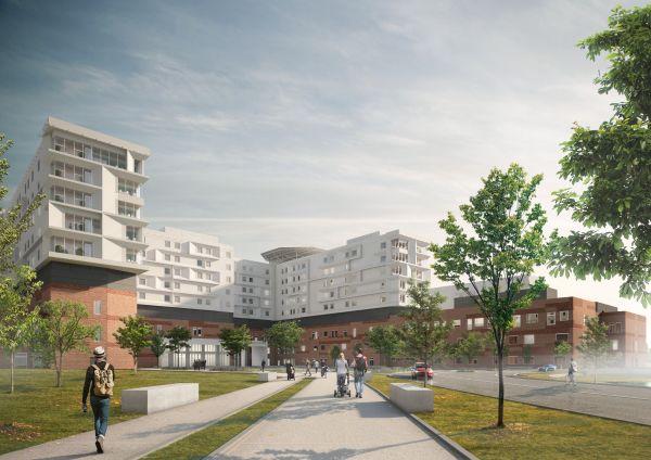 Illustration des neuen Universitätskrankenhauses in Køge