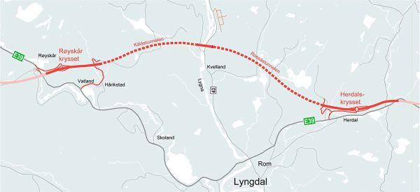 Karte des geplanten Streckenabschnitts auf der E30 zwischen Lyngdal Ost und Lyngdal West