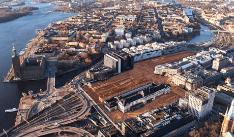 Luftbild mit Illustration des neuen Stadtteils