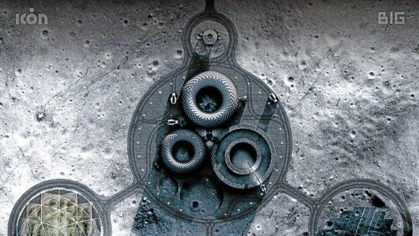Illustration der Igloos, die mithilfe eines 3D-Druckers auf dem Mond entstehen sollen