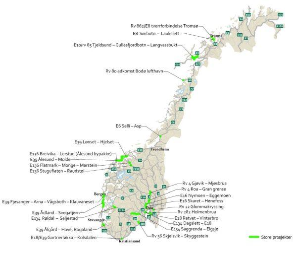 Norwegenkarte mit Übersicht neuer Verkehrsprojekte