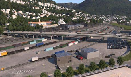 Illustration des Güterbahnhofs Nygårdstangen