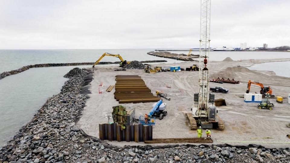 Baustelle für das Tunnelportal der Festen Fehmarnbeltquerung