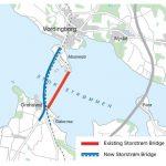 Karte mit Streckenverlauf der alten und neuen Storstrømbrücke