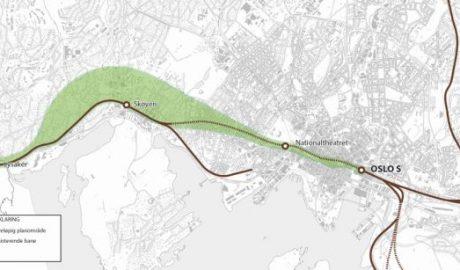 Illustration des geplanten Streckenverlaufs des Neuen Eisenbahntunnels durch Oslo