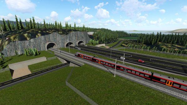 Illustration Tunneleinfahrt Ringeriksbanen und E16