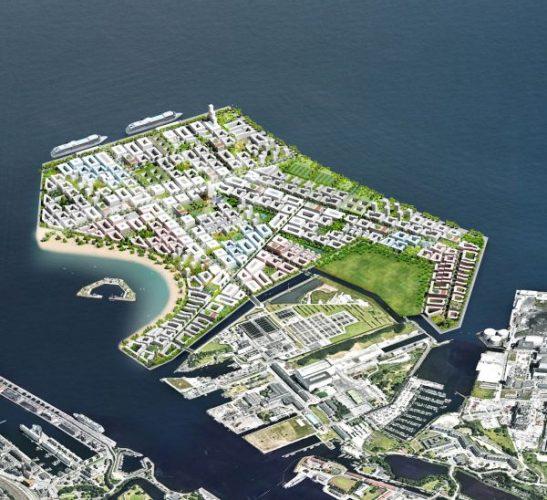 Illustration der künstlichen Insel Lynetteholm