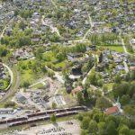 Luftaufnahme des Bereichs Øvre Strøm auf der Strecke Drammen - Kobervikdalen